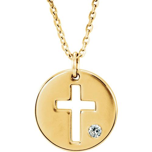 14kt Yellow Gold .03 ct Diamond Pierced Cross Disc Necklace