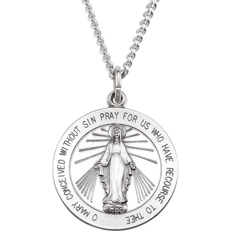 Sterling Silver 7/8in Miraculous Medal & 24in Chain