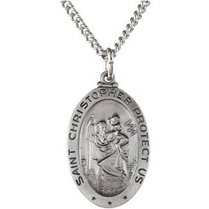 Sterling Silver 25mm St. Christopher Medal & 24in Chain