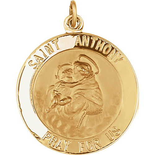 14kt Yellow Gold 22mm St. Anthony Medal