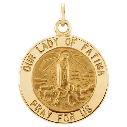 14k Yellow Gold Our Lady of Fatima Medal 15mm