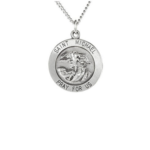 Sterling Silver 5/8in Round St. Michael Medal & 18in Chain