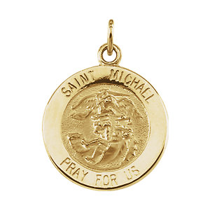 14kt Yellow Gold 15mm St. Michael Medal
