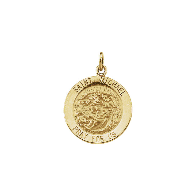 14kt Yellow Gold 18mm St. Michael Medal