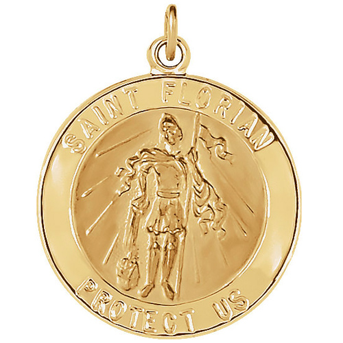 14kt Yellow Gold 7/8in St. Florian Medal