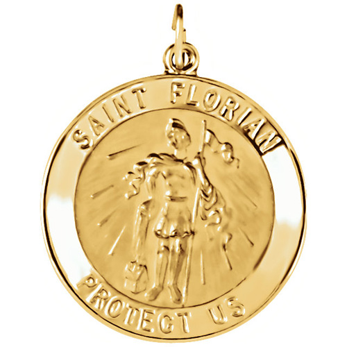14kt Yellow Gold 1in Round St. Florian Medal