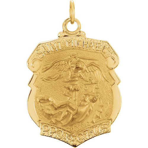 14kt Yellow Gold 1in St. Michael Shield Medal