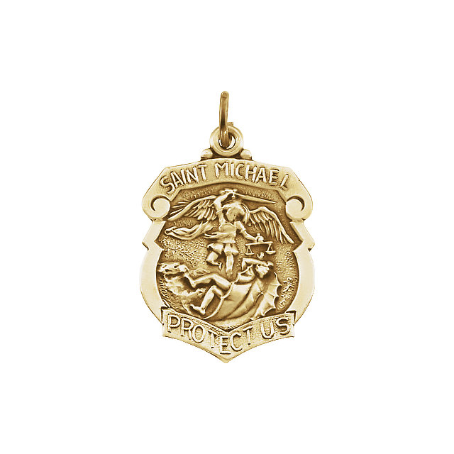 14kt Yellow Gold 5/8in St. Michael Medal Shield Pendant