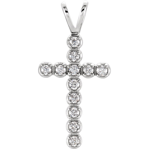 14kt White Gold 1/8 ct Diamond Cross with V Bail