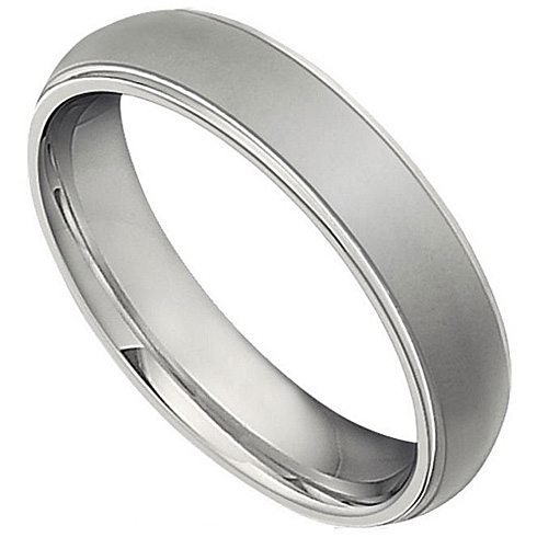 Titanium 5mm Ridged Domed Wedding Band with Oxidized Center