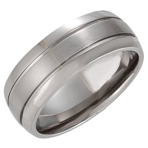 8mm Domed Titanium Band with Oxidized Center