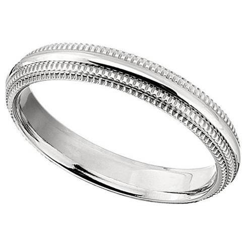 4mm Titanium Ridged Band with Double Milgrain