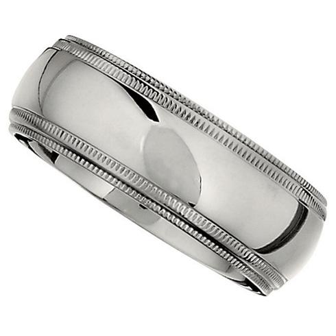 8mm Titanium Ridged Band with Double Milgrain