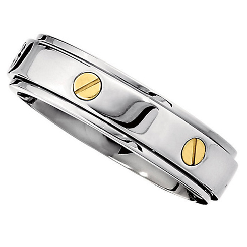 7mm Titanium Spinner Band with 14kt Gold Screws