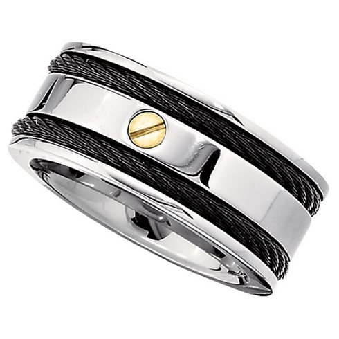 10mm Titanium Band with Black Cable Inlays