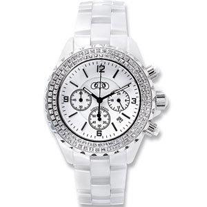 White Oversized Ceramic Chronograph Watch with CZ Bezel