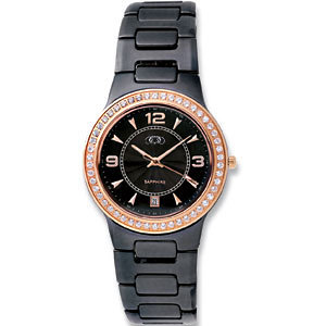 Black Ceramic Rose Gold-plated Oversized Watch