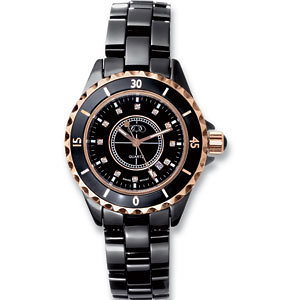 Black Ceramic & Rose Gold Midsized Watch