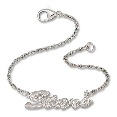 Sterling Silver 7in Dallas Stars Script Bracelet