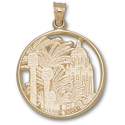 10kt Yellow Gold 1in Stanford Hoover Tower Pendant