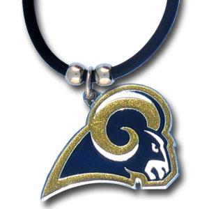 Zinc 1 1/4in Los Angeles Rams Logo 22in Necklace