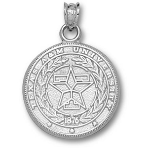 Sterling Silver 3/4in Texas A & M Aggies Seal Pendant