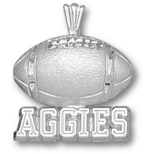 Texas A & M Aggies 5/8in Sterling Silver Football Pendant