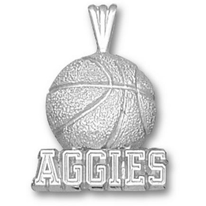 Texas A & M Aggies 5/8in Sterling Silver Basketball Pendant