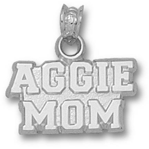 Sterling Silver 3/8in Texas A&M Aggie Mom Pendant