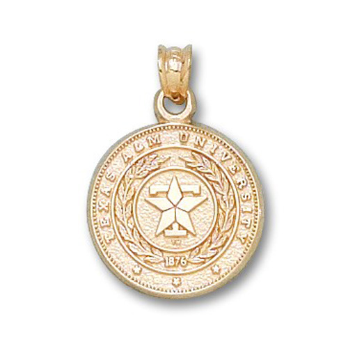 10kt Yellow Gold 5/8in Texas A&M University Seal Pendant