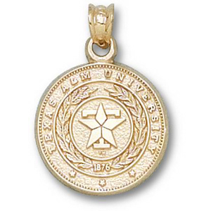 14kt Yellow Gold 5/8in Texas A&M University Seal Pendant
