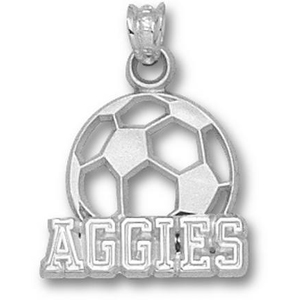 Texas A & M Aggies 5/8in Sterling Silver Soccer Pendant