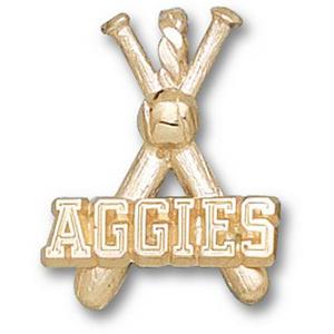 Texas A & M Aggies 3/4in 10k Bats Pendant