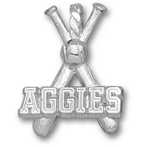 Texas A & M Aggies 3/4in Sterling Silver Bats Pendant