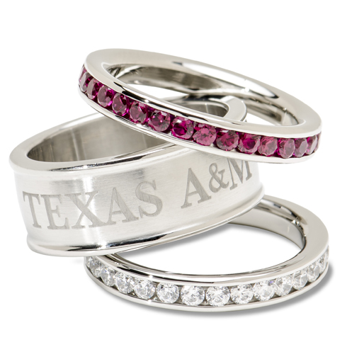Texas A&M University Crystal Stacked Ring Set