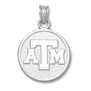 Texas A & M Aggies 5/8in Sterling Silver ATM Pendant
