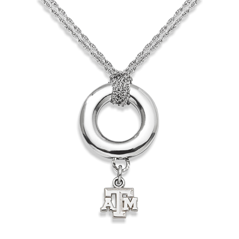 Sterling Silver 16in Texas A&M Halo Necklace