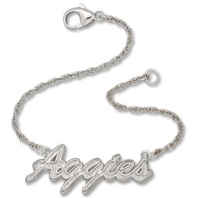 Sterling Silver 7in Texas A&M Aggies Script Bracelet