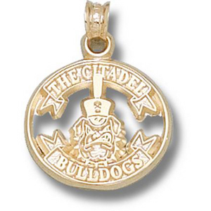10kt Yellow Gold 5/8in Citadel Bulldogs Ribbon Pendant