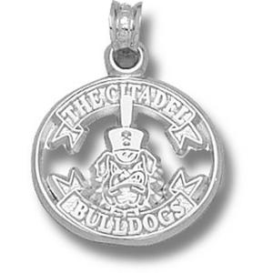 Sterling Silver 5/8in Citadel Bulldogs Ribbon Pendant