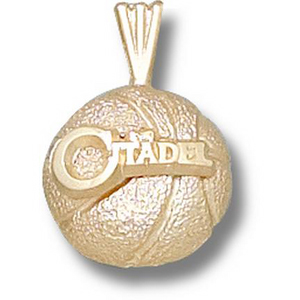 Citadel Bulldogs 1/2in 10k Basketball Pendant