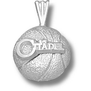 Sterling Silver 1/2in Citadel Bulldogs Basketball Pendant