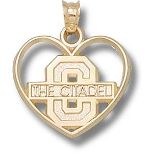 Citadel Bulldogs 3/4in 10k Heart Pendant