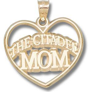 14kt Yellow Gold 1 1/8in The Citadel Mom Heart Pendant