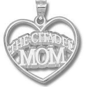 Sterling Silver 1 1/8in The Citadel Mom Heart Pendant