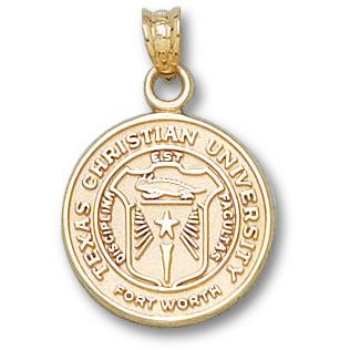 14kt Yellow Gold 5/8in Texas Christian University Seal Pendant