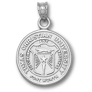 14kt White Gold 5/8in Texas Christian University Seal Pendant