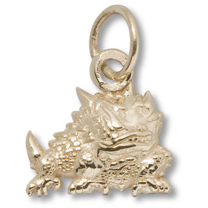 14kt Yellow Gold 7/16in TCU Horned Frog Charm
