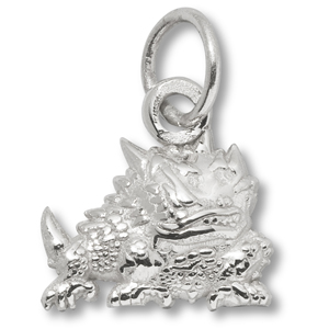 Sterling Silver 7/16in TCU Horned Frog Charm