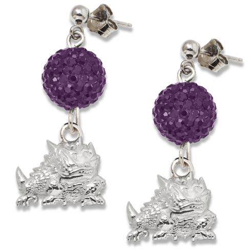 Sterling Silver Texas Christian University Ovation Earrings